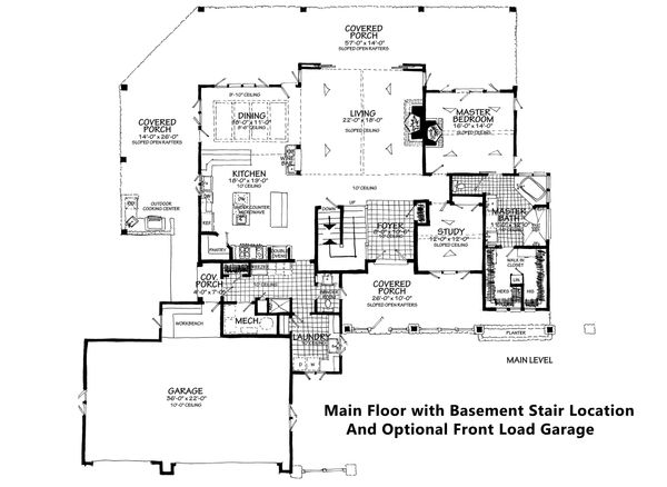 Dream House Plan - Main Floor With Opt. Front Load & Basement Stair.