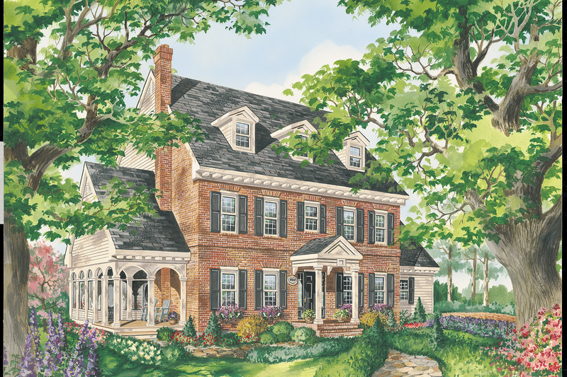 Colonial Style House Plan - 3 Beds 1 Baths 1939 Sq/Ft Plan #25-4761 Exterior - Front Elevation