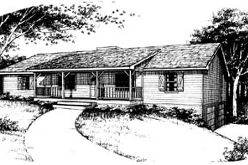 Ranch Style House Plan - 3 Beds 2 Baths 1715 Sq/Ft Plan #10-134 Exterior - Front Elevation