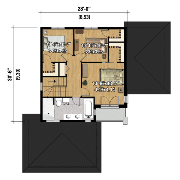 Contemporary Floor Plan - Upper Floor Plan Plan #25-4300