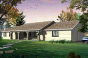 Mediterranean Style House Plan - 3 Beds 2 Baths 1627 Sq/Ft Plan #1-1155 Exterior - Front Elevation