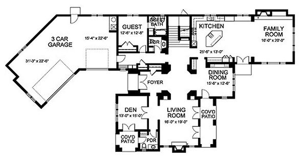 Traditional Floor Plan - Main Floor Plan Plan #490-13