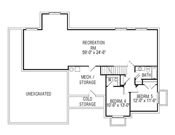 Craftsman Floor Plan - Lower Floor Plan Plan #920-38