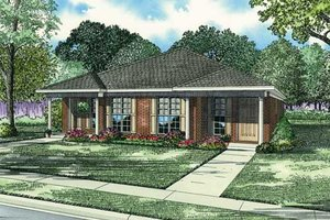 Southern Exterior - Front Elevation Plan #17-1096