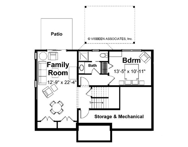 Farmhouse Floor Plan - Lower Floor Plan #928-6