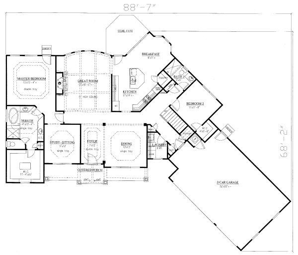Traditional Floor Plan - Main Floor Plan Plan #437-106
