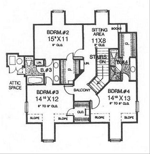 Farmhouse Floor Plan - Upper Floor Plan Plan #310-625