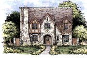 Tudor Style House Plan - 4 Beds 4.5 Baths 5120 Sq/Ft Plan #141-339 Exterior - Front Elevation