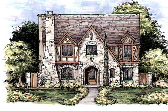 Tudor Exterior - Front Elevation Plan #141-339