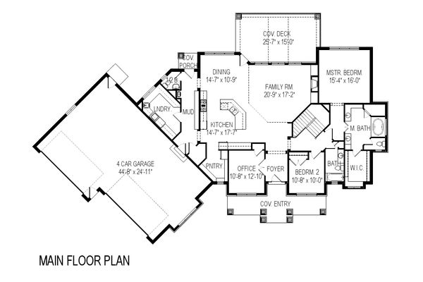 Craftsman Floor Plan - Main Floor Plan Plan #920-21