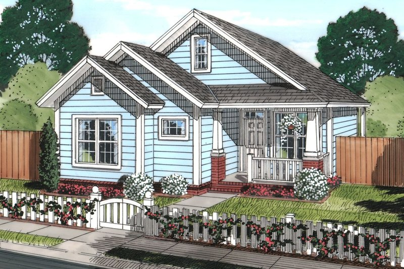 Cottage Style House Plan - 3 Beds 2 Baths 1163 Sq/Ft Plan #513-2071 Exterior - Front Elevation