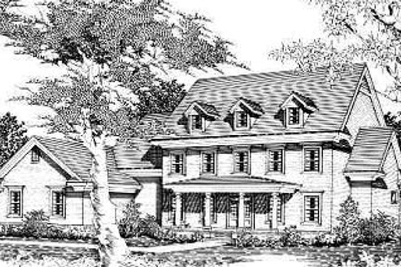 Traditional Style House Plan - 4 Beds 4.5 Baths 4067 Sq/Ft Plan #329-314 Exterior - Front Elevation