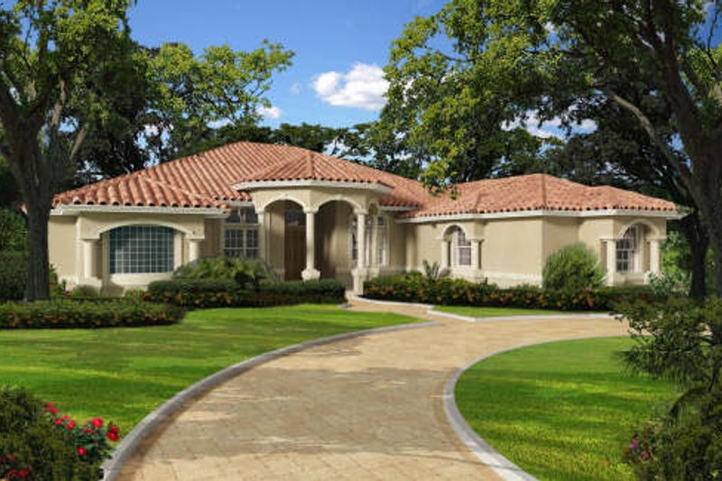 Mediterranean Style House Plan - 5 Beds 4.5 Baths 3937 Sq/Ft Plan #420-282 Exterior - Front Elevation
