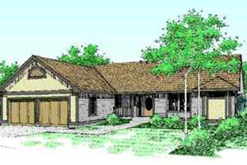 Traditional Style House Plan - 2 Beds 2 Baths 1616 Sq/Ft Plan #60-477 Exterior - Front Elevation