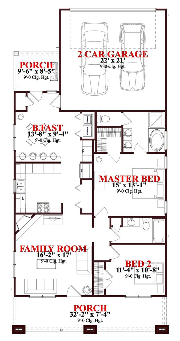 Craftsman Floor Plan - Main Floor Plan Plan #63-273