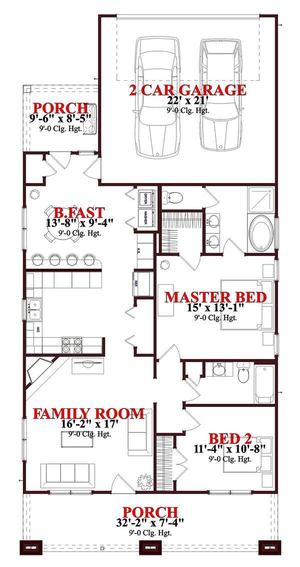 Craftsman Floor Plan - Main Floor Plan #63-273