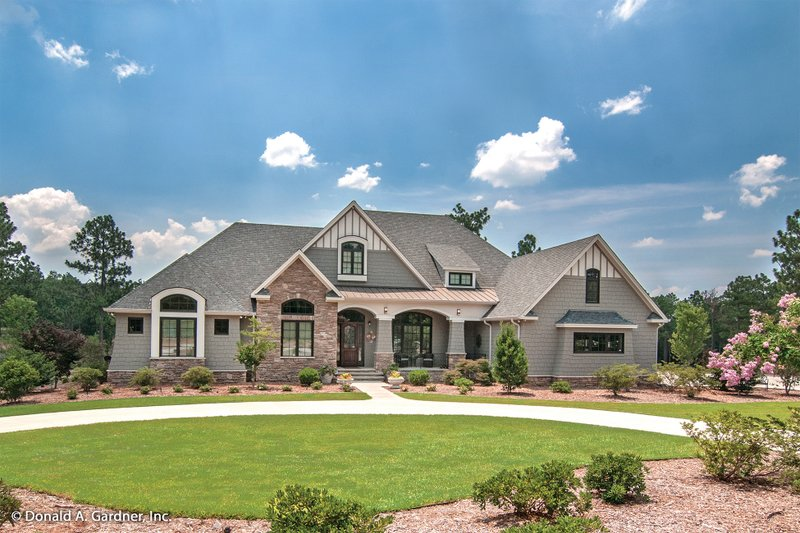 House Plan Design - Craftsman style house by Donald Gardner, front elevation, 3000 square feet