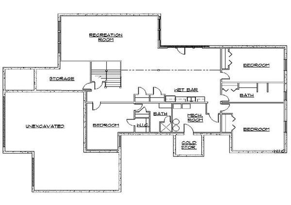 House Plan Design - European Floor Plan - Lower Floor Plan #5-325