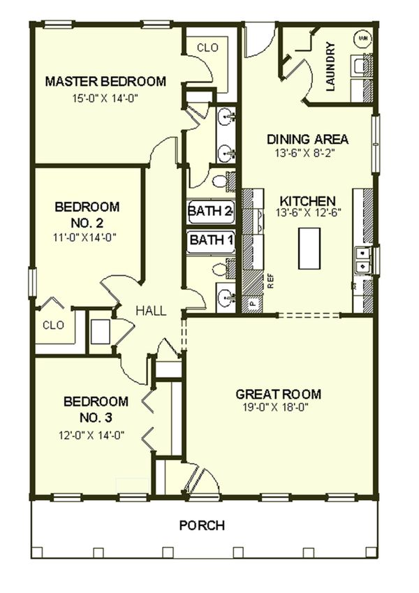 Southern Floor Plan - Main Floor Plan Plan #44-151