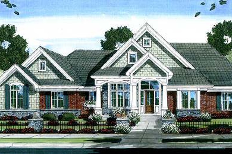Architectural House Design - Traditional Exterior - Front Elevation Plan #46-412