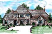 European Style House Plan - 3 Beds 3.5 Baths 3239 Sq/Ft Plan #52-187 Exterior - Front Elevation