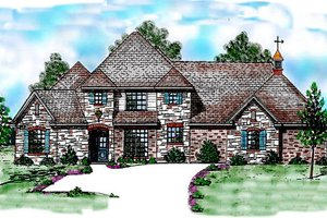 European Exterior - Front Elevation Plan #52-187