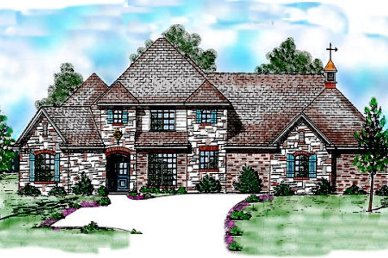 European Exterior - Front Elevation Plan #52-187 - Houseplans.com