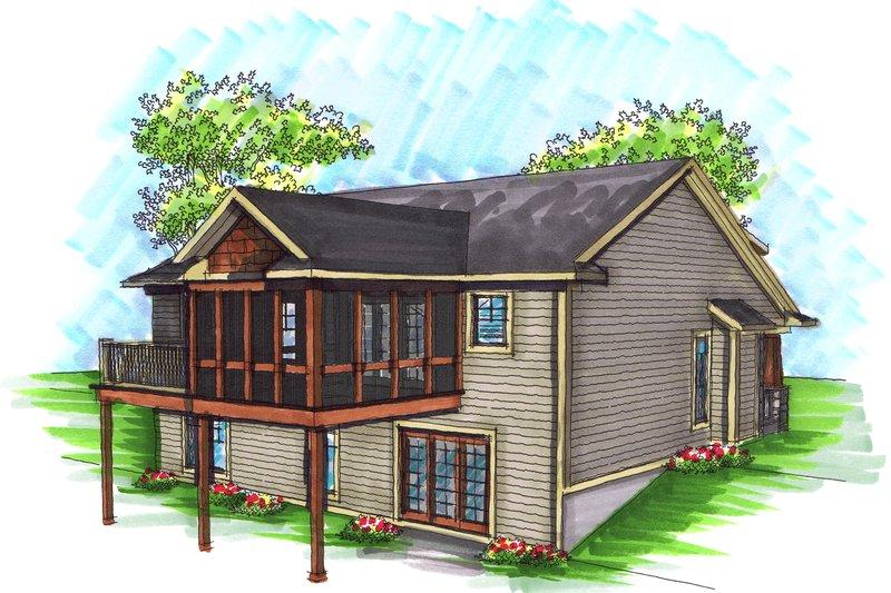 Ranch Exterior - Rear Elevation Plan #70-1034 - Houseplans.com