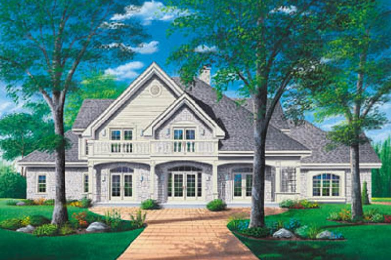 European Style House Plan - 5 Beds 3.5 Baths 4147 Sq/Ft Plan #23-294 Exterior - Front Elevation