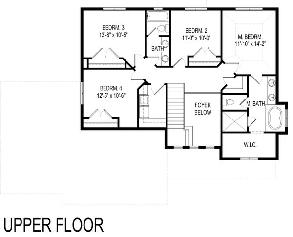 Traditional Floor Plan - Upper Floor Plan Plan #920-114