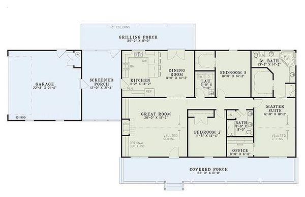 Ranch Style House Plan - 3 Beds 2 Baths 1800 Sq/Ft Plan #17-2142 Floor Plan - Main Floor Plan