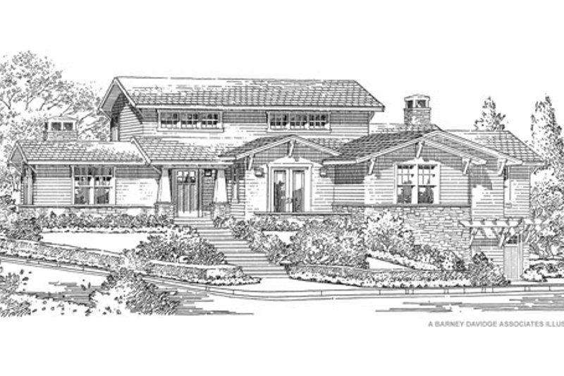 Traditional Style House Plan - 4 Beds 3.5 Baths 3845 Sq/Ft Plan #490-30 Exterior - Front Elevation