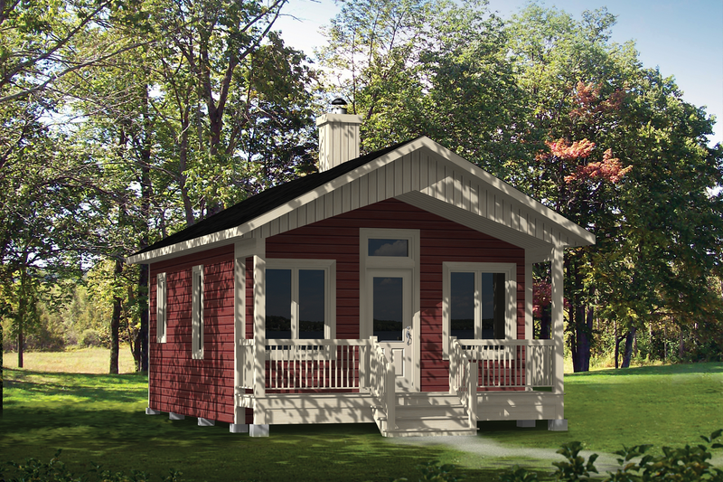 Country Style House Plan - 1 Beds 1 Baths 432 Sq/Ft Plan #25-4738 Exterior - Front Elevation