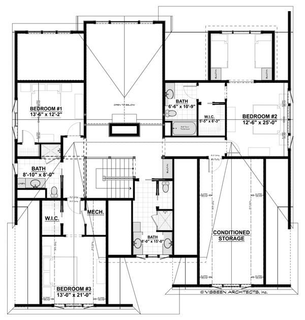 Farmhouse Floor Plan - Upper Floor Plan Plan #928-310