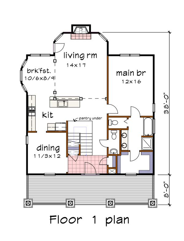 Craftsman Floor Plan - Main Floor Plan Plan #79-280