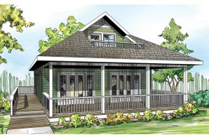 Cottage Exterior - Front Elevation Plan #124-916
