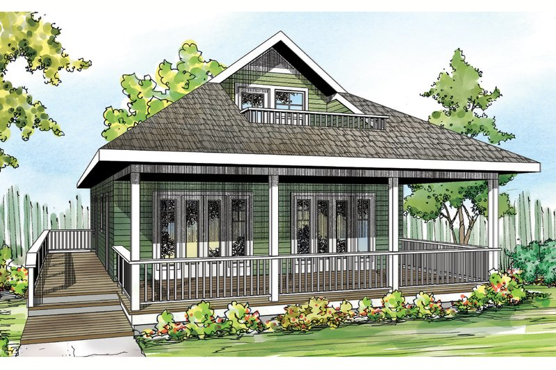 Cottage Style House Plan - 2 Beds 2 Baths 1120 Sq/Ft Plan #124-916