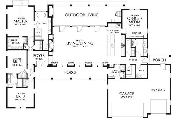 Contemporary Floor Plan - Main Floor Plan Plan #48-971