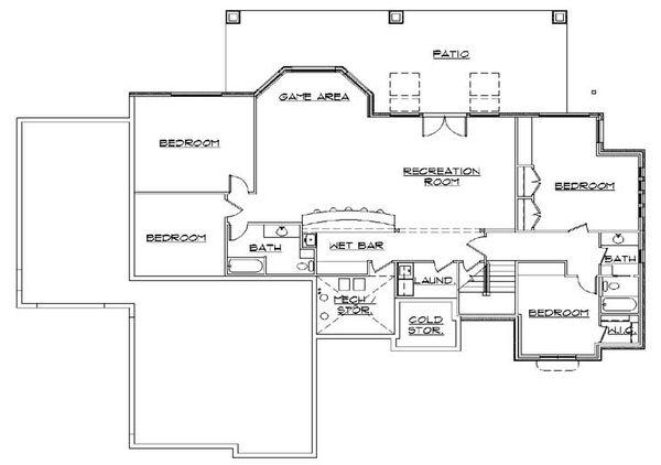 House Plan Design - European Floor Plan - Lower Floor Plan #5-356