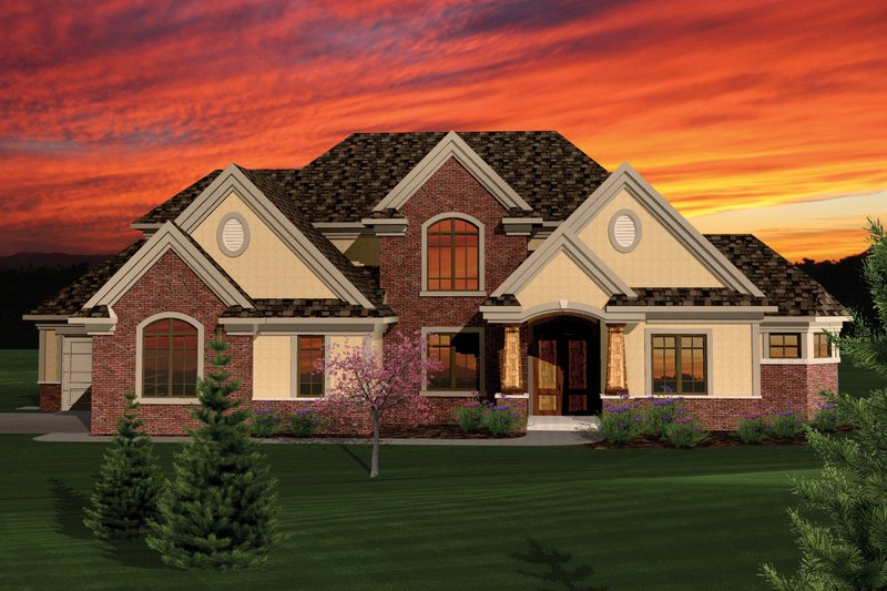 Craftsman Style House Plan - 4 Beds 3.5 Baths 3003 Sq/Ft Plan #70-1060 Exterior - Front Elevation