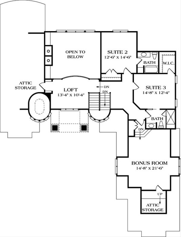 European Floor Plan - Upper Floor Plan Plan #453-39