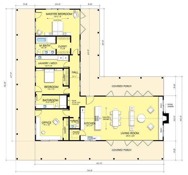 Ranch Style House Plan - 2 Beds 2.5 Baths 2507 Sq/Ft Plan #888-5 Floor Plan - Main Floor Plan