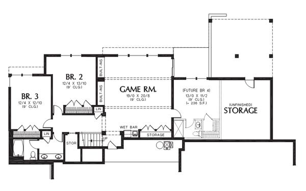 Prairie Floor Plan - Lower Floor Plan #48-700