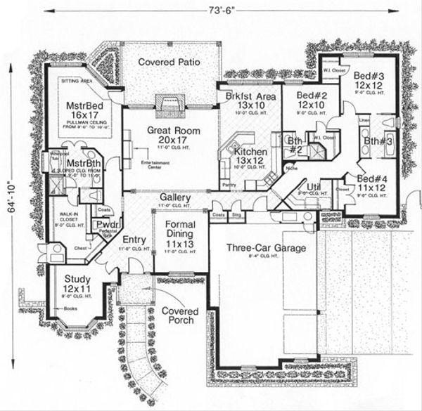 European Floor Plan - Main Floor Plan Plan #310-630