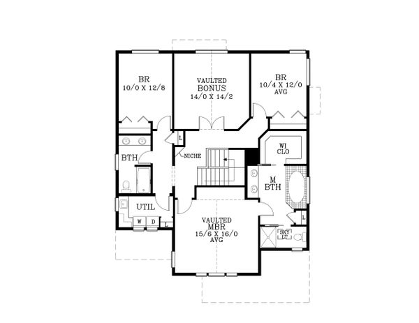 Craftsman Floor Plan - Upper Floor Plan Plan #53-486