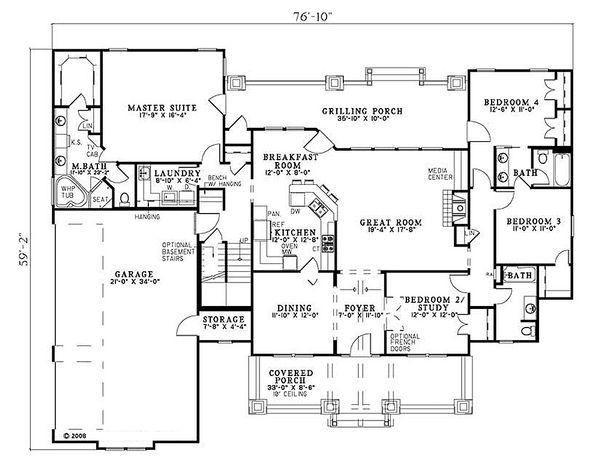 Craftsman Floor Plan - Main Floor Plan #17-2373