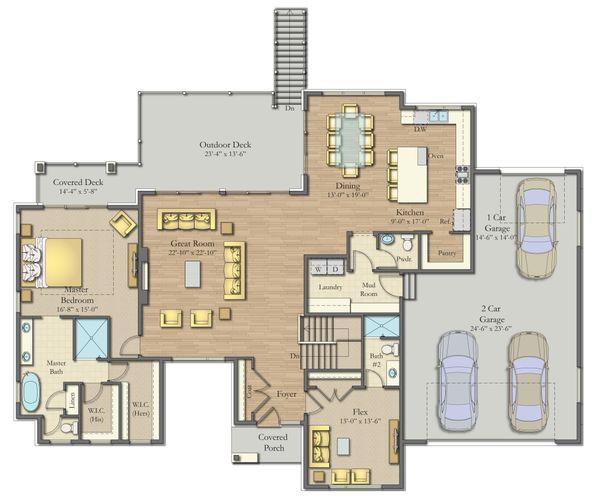 Dream House Plan - Modern Floor Plan - Main Floor Plan #1057-23
