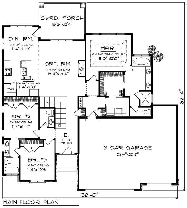 Architectural House Design - Ranch Floor Plan - Main Floor Plan #70-1266