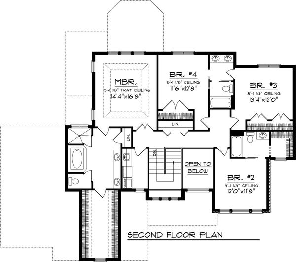 Traditional Floor Plan - Upper Floor Plan Plan #70-1088