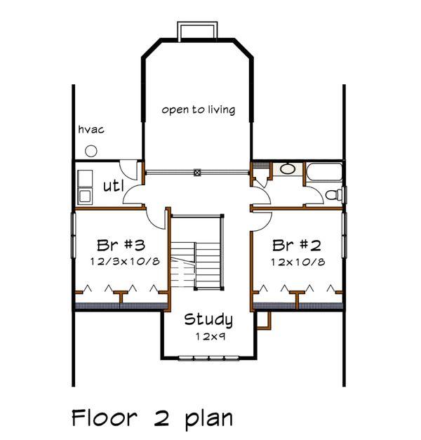 Craftsman Floor Plan - Upper Floor Plan Plan #79-234